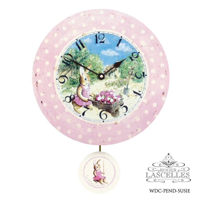 イギリス Roger Lascelles ロジャー・ラッセル 振り子付掛け時計 掛時計 クラシックテイスト チルドレンズクロック RL- WDC-PEND-SUSIE スーザン ウサギ