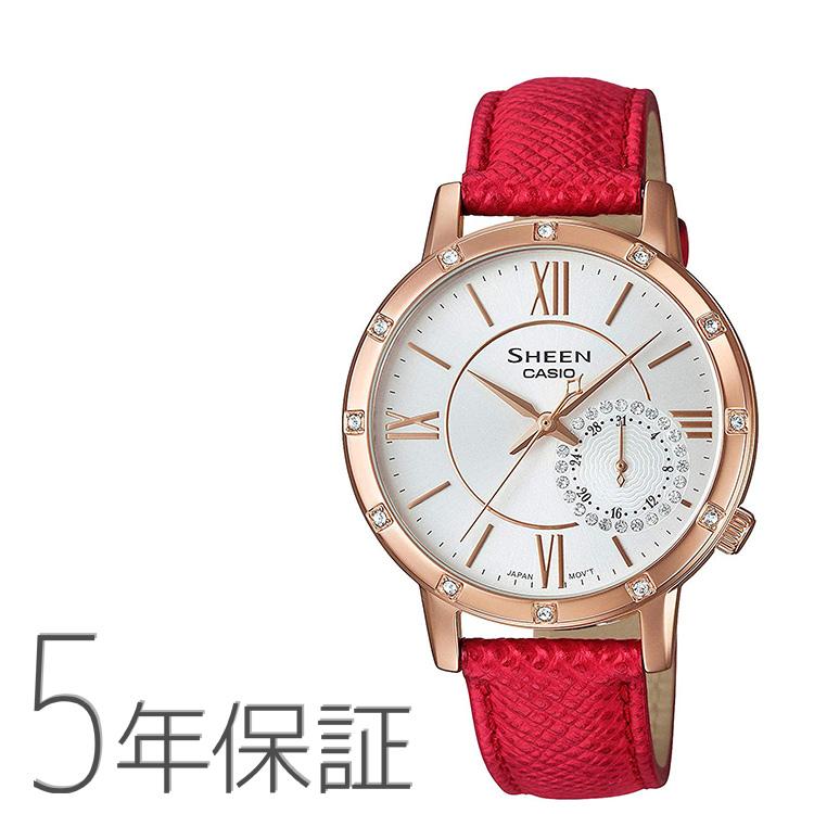 シーン SHEEN SHE-3046GLP-7BJF カシオ CASIO スワロフスキー 革バンド ピンクゴールド 赤 レッド 腕時計 レディース