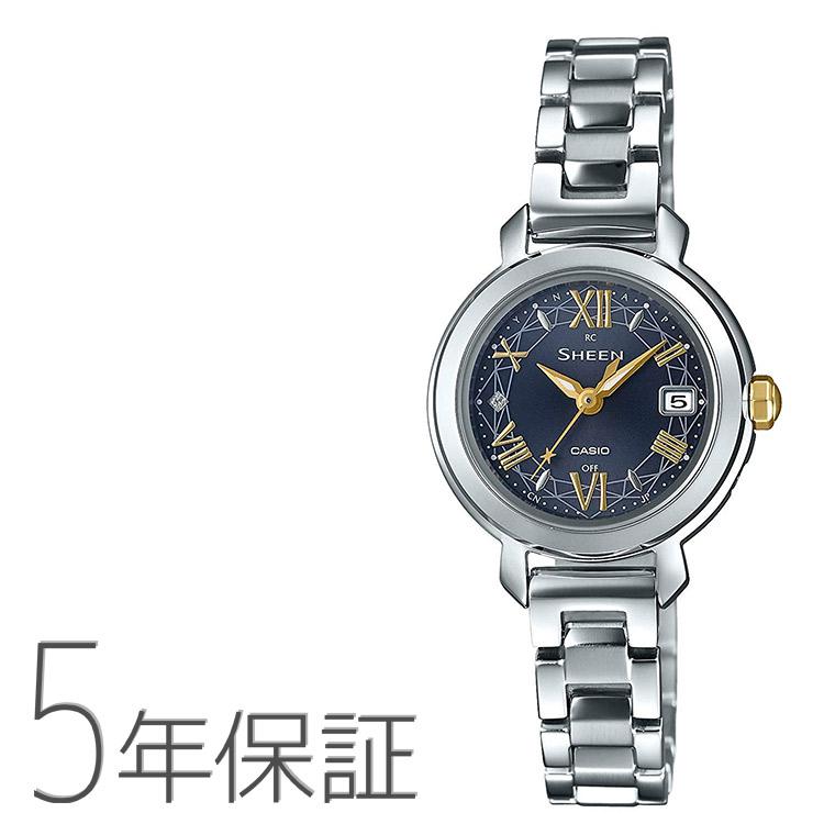 シーン SHEEN SHW-5300D-2AJF カシオ CASIO 電波ソーラー スワロフスキー ダークネイビー 濃紺 シルバー 腕時計