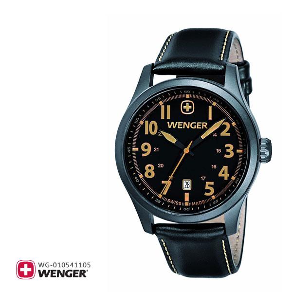 Wenger ウェンガー 腕時計 ウォッチ メンズ テラグラフ 01.0541.105 黒 ブラック オールブラック 革バンド 革ベルト 黒革 レザー スイス