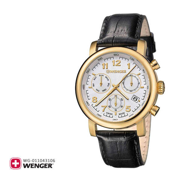 Wenger ウェンガー 腕時計 ウォッチ メンズ URBAN CLASSIC CHRONO アーバンクラシッククロノ 01.1043.106 ブラック 黒 革バンド レザーベルト ゴールド 金色