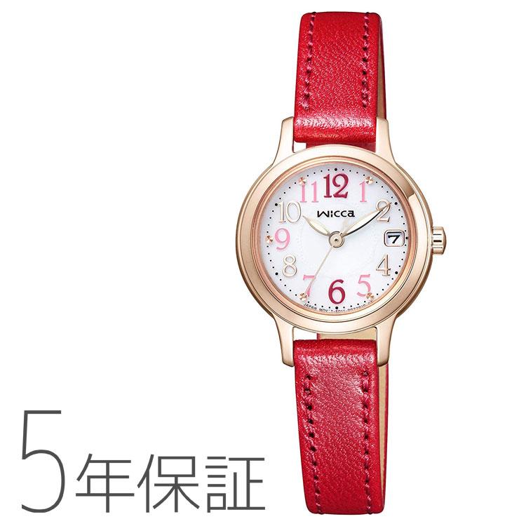 wicca ウィッカ シチズン CITIZEN KH4-963-10 革バンド ソーラー電池 ワインレッド 赤 レディース 腕時計