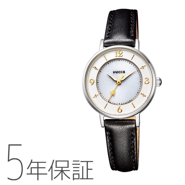 wicca ウィッカ KP3-465-10 シチズン CITIZEN ソーラーテック 黒皮バンド 白文字盤 新社会人 腕時計 レディース