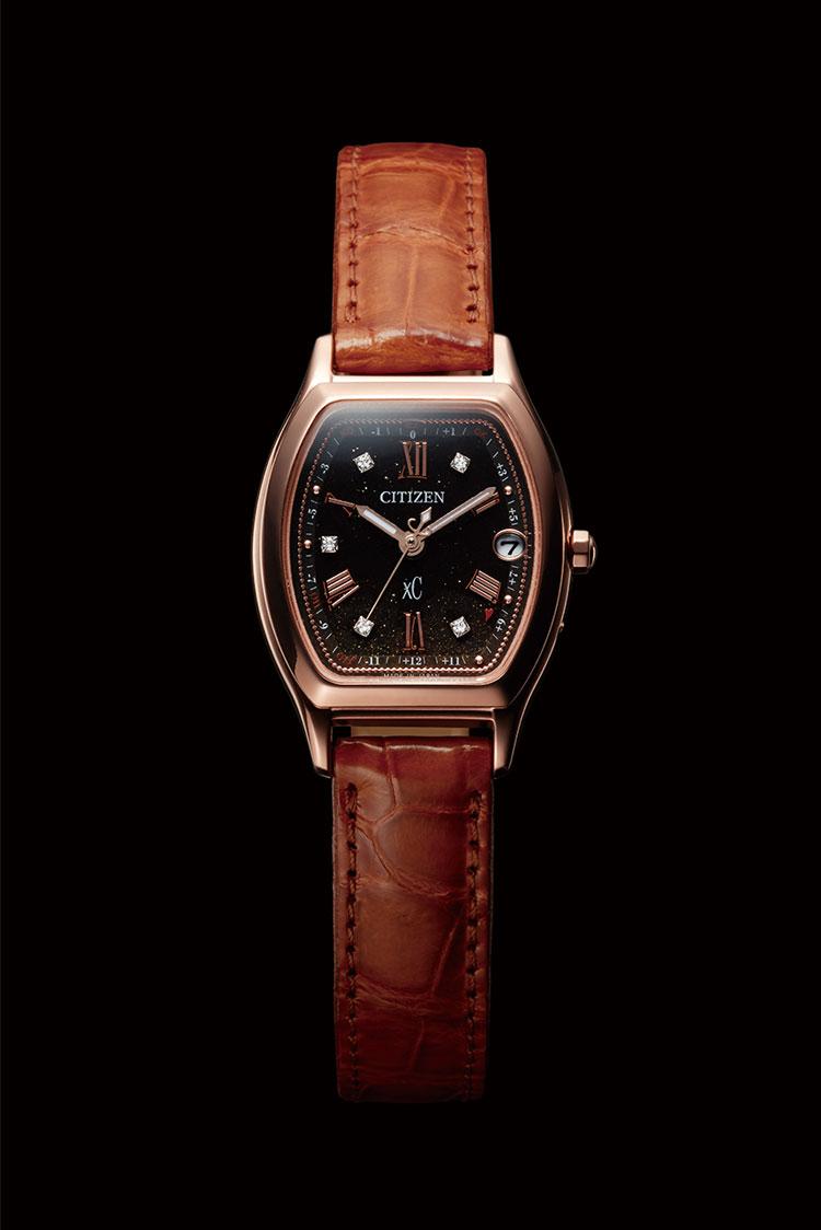 クロスシー xC ES9352-13E シチズン CITIZEN ソーラー電波時計 100周年記念 限定モデル ダイヤ入り ワニ革バンド 茶色 ブラウン レディース 腕時計