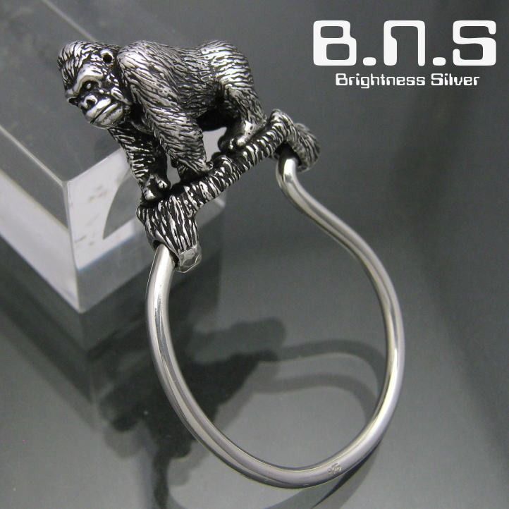 Gorillakey 环银 925 银大猩猩 SV925 (钥匙扣,钥匙扣,钥匙,猴子、 猩猩、 大猩猩,动物)