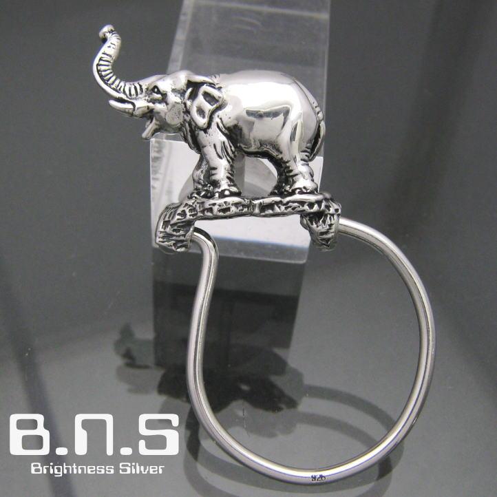 銀の象、アジアゾウキーリング シルバー925 SV925(キーホルダー、キーチェーン、鍵、インドゾウ、エレファント、ぞう、Elephas maximus、動物)