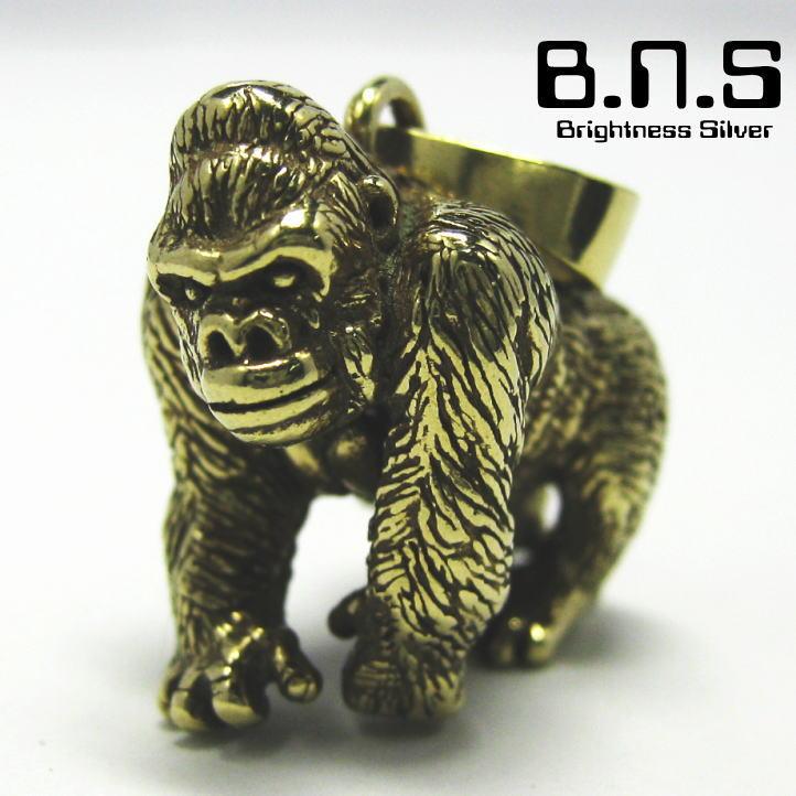 ゴリラのペンダント 金色のゴリラ ゴリラペンダント 正規品 ブラス 真鍮 猿 動物 Gorilla 類人猿 オンラインショッピング
