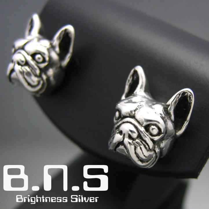 犬のピアス 銀の犬 フレンチブルドッグピアス 片方販売 シルバー925 bulldog 受注生産品 動物 ドッグ 犬 Dog 代引き不可