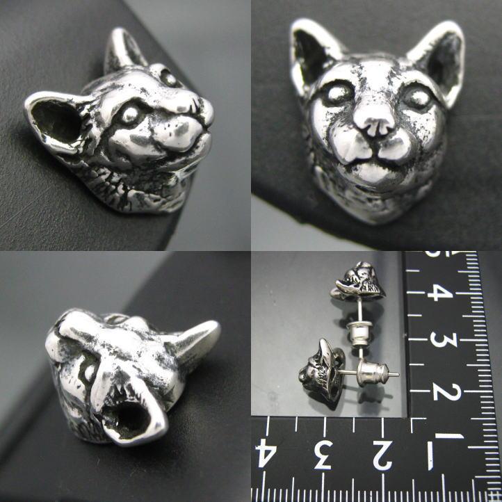 猫无环耳环一方销售银子银的猫925(猫,猫,猫,CAT,动物)