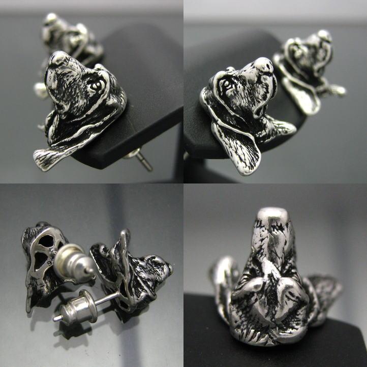 Brightness Silver Silver Dog Basset Hound Pierced Earrings One Sale