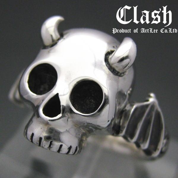 -Clash-베이비 데블 스 컬 반지 악마 뿔 날개, 실버 925