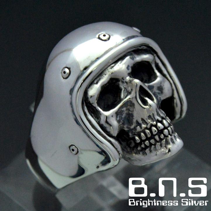 【ジェットヘルメットをかぶった骸骨】 ジェットヘルスカルリング シルバー925 銀製 (skull ring ドクロ どくろ 髑髏 ヘルメット バイク オートバイ ライダー)