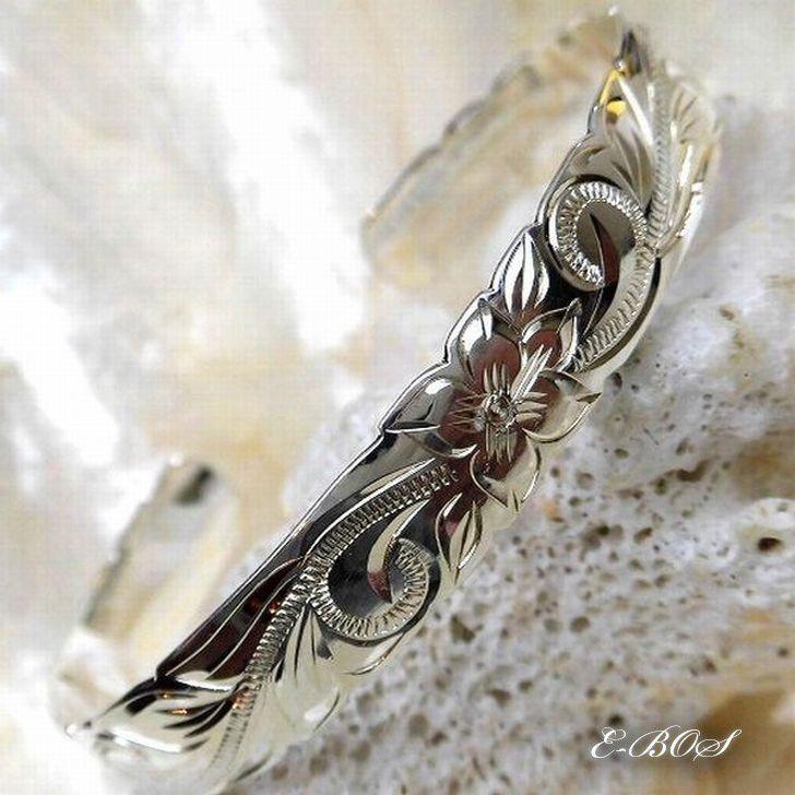 ハワイアンジュエリー バングル 10mm幅 Silver925 カットアウト カフ バングル スクロール プルメリア hb011