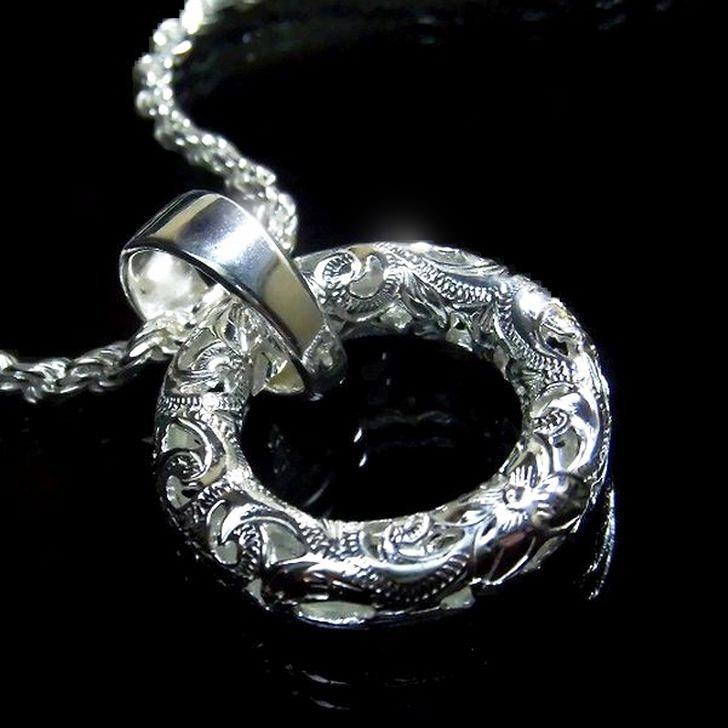 ハワイアンジュエリー ネックレス ペンダント ラウンド サークル 「幸せを永遠にする透かし彫りの輪」Ropeチェーン付 SILVER925 メンズ レディース nk025