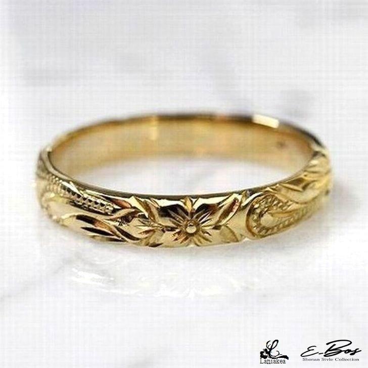 ハワイアンジュエリー リング Laniakea 手彫り 3mm幅 ピンキーリング 指輪 K10 ゴールド リング K18 オプション メンズ レディース lfp026