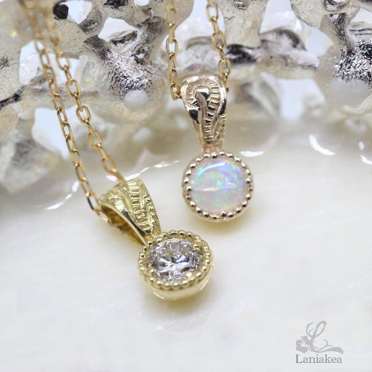 選べる 誕生石 K10 K18 ハワイアンジュエリー ネックレス Laniakea 素材 lfp115 プラチナ オパール 内祝い ダイヤモンド ペンダント スクロール 毎日続々入荷 又は オプション