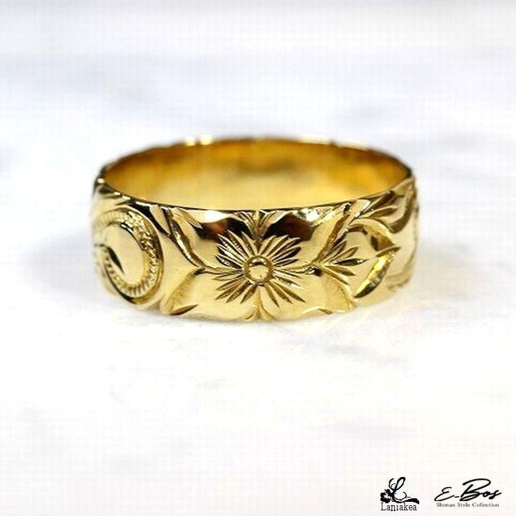 ハワイアンジュエリー リング Laniakea K18 18金 手彫り 指輪 7mm幅 豪華 マリッジリング 結婚指輪 ゴールド リング メンズ レディース lfp023