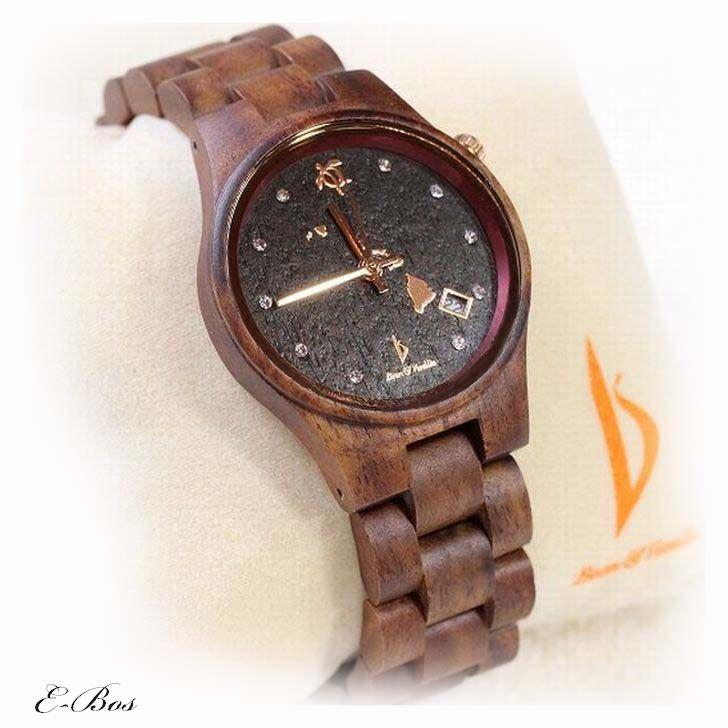 ハワイアンジュエリー コア ウオッチ 腕時計 Bean & Vanilla 文字盤 ブラック 天然 ハワイアン コアウッド ホヌ デザイン オアフ島 クオーツ watch006