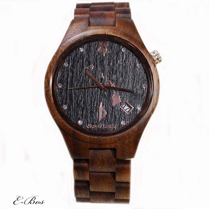 ハワイアンジュエリー コア ウオッチ 腕時計 Bean & Vanilla 文字盤 ブラック 天然 ハワイアン コアウッド ホヌ デザイン オアフ島 クオーツ watch007
