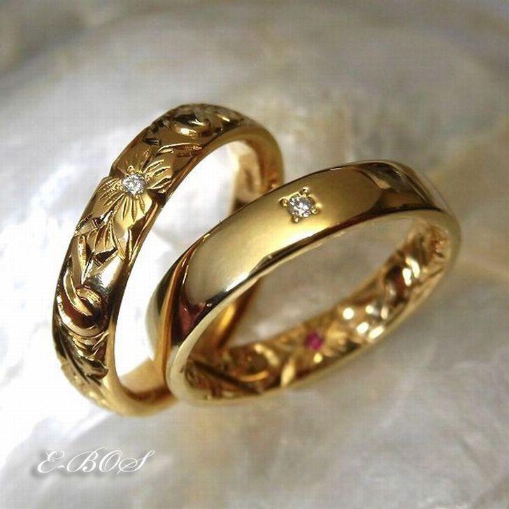 ハワイアンジュエリー リング 本格 手彫り 納得の2mm厚 結婚指輪 ダイヤモンド 誕生石 プレゼント K10 K18 プラチナ900 メンズ レディース ペア も最適 omr015
