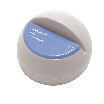 手で持って開封しやすいドーム型。立てても、横にしても、手に持ってもスピーディに開封できます。 マンモス 電動レターオープナー(ブルー)MLO80-BU【5050369】