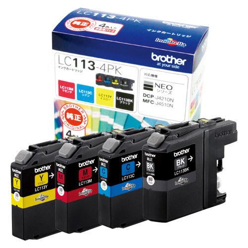 【取寄品】ブラザー 純正インクジェットカートリッジ<4色パック>LC113-4PK【a16419】