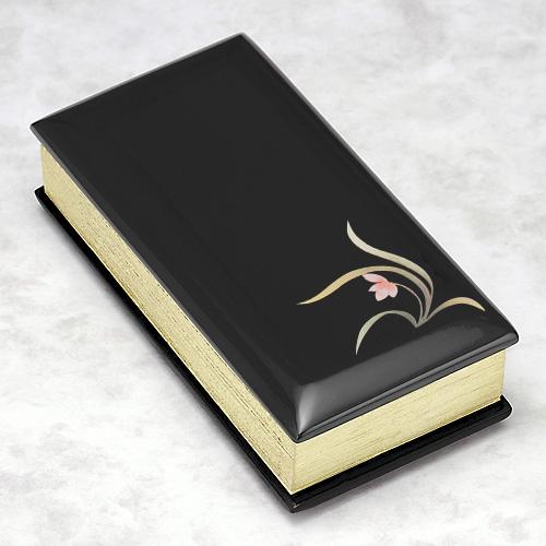 過去帳 黒塗り蒔絵入り(蘭) 3寸 縦9cm×横4.5cm 【お盆用品 仏具 お彼岸】