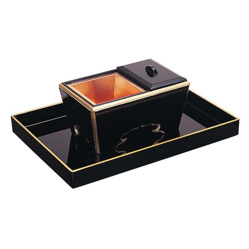 角香炉セット 黒塗り 巾30cm×奥行21cm 【お盆用品 仏具 お彼岸】