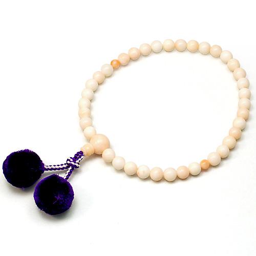 女性用数珠 ピンクサンゴ 正絹梵天房 7mm玉 正絹梵天房 【お盆 レディース 婦人用 法事 葬式 葬儀】