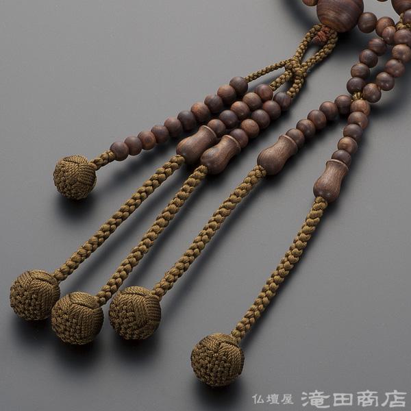 Nichiren Buddhist rosary sendan (glazed JPN) isometric 2 silk flowers Brahma bunch