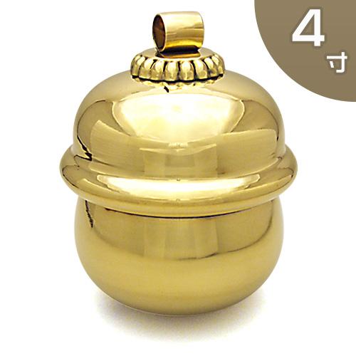 9 4~9 11までポイント5~10倍 お宮や神社で使用する鈴です 本坪鈴 神具 4寸 横巾直径 12cm×総高15cm 日本限定 送料無料 京都 しんちゅう 日本製 鈴 金色 すず 国産品 秀逸 真鍮製 スズ