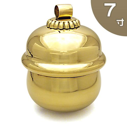 9 4~9 11までポイント5~10倍 お宮や神社で使用する鈴です 本坪鈴 神具 7寸 横巾直径 21cm×総高25cm 送料無料 [宅送] 京都 大人気 国産品 すず 鈴 しんちゅう スズ 日本製 真鍮製 金色