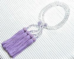 【数珠・天然石】【女性用 数珠】(送料無料)【数珠 水晶】二輪 水晶丸玉 藤雲石仕立
