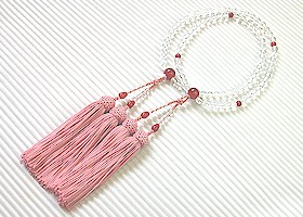 【数珠108玉】【数珠八宗用】 【数珠女性用水晶】【送料無料】二輪 水晶丸玉 瑪瑙仕立