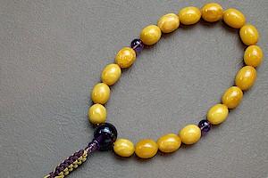 【数珠・天然石・京念珠・京都】 男性向 老琥珀 紫水晶入 紐房