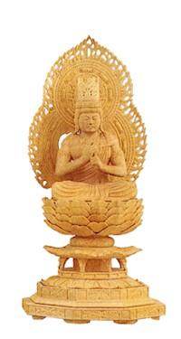 【送料無料】【真言宗】仏像 総柘植 八角台座 大日如来 2寸