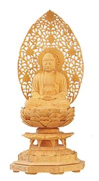 【仏像 柘植 座釈迦】【仏像 禅宗/釈迦如来像】仏像 総柘植 八角台座 座釈迦 2寸