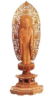 【送料無料】仏像 総白檀 八角台座 阿弥陀如来(舟弥陀)3.5寸