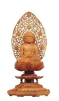 【送料無料】仏像 総白檀 八角台座 座弥陀 2寸