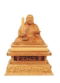 【仏像 日蓮上人 白檀】仏像 総白檀 日蓮上人 1.8寸