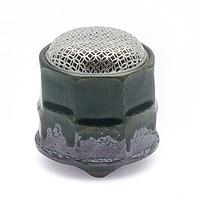 【香炉】【京都 松栄堂】老舗・松栄堂京焼 織部筒型香炉