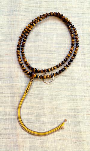 ◆京念珠 (数珠袋付き)【男性用数珠】【曹洞宗本式】【トラメ石】尺二曹洞宗 本式男性向虎目石 共仕立 紐房