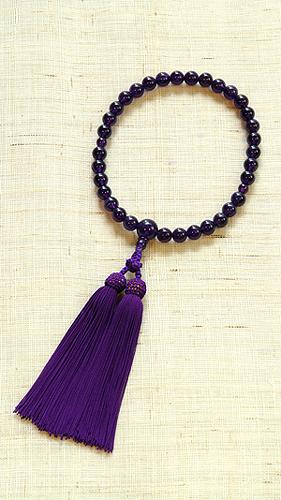【数珠・天然石・京念珠・京都】 【桐箱入 送料無料)女性向 紫水晶共仕立