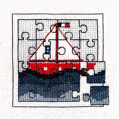 フランスより入荷しました Le 新色追加 Bonheur des 卓越 Dames 中級者向 クロスステッチ 数量限定セール デ ダム Puzzle boat ボヌール 刺繍キット ル 1716