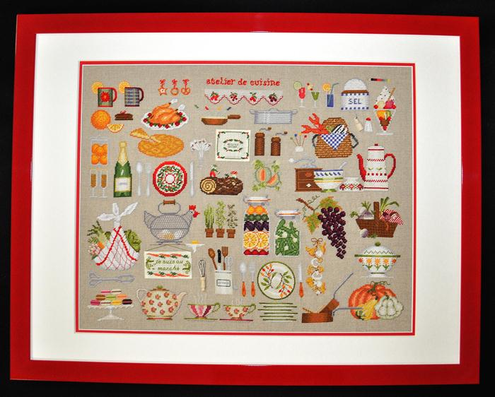 刺しゅう額装 (完成品) 【ル・ボヌール・デ・ダム】 2684 Atelier cuisine クッキングワークショップ  【HLS_DU】【送料無料】