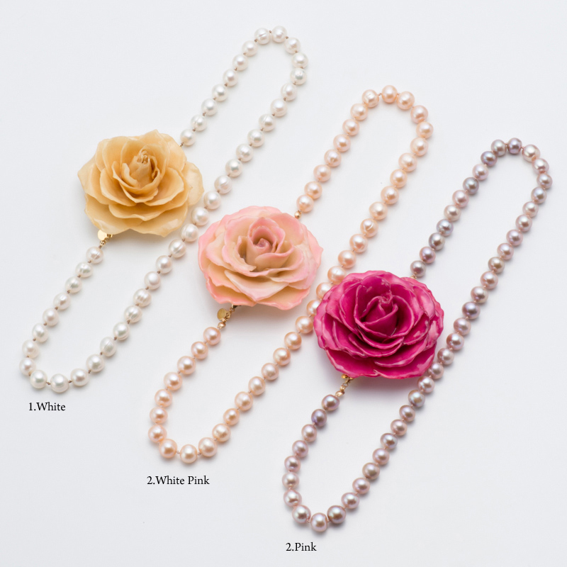 blooming rose short necklace本物の花 バラ パール ネックレスクリスマス 結婚式 パーティー 入園式 卒園式 入学式 卒業式 ブローチ