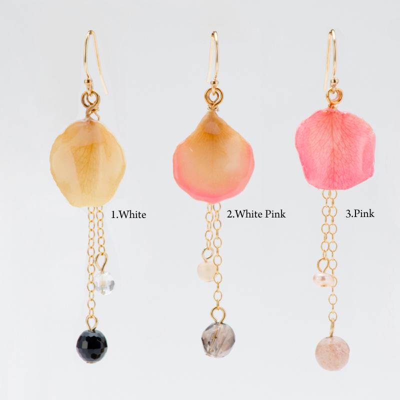 超ポイントバック祭り 期間限定 ポイント5倍!!rose chain earrings group1 天然石 イヤリング ピアス 花びら バラ