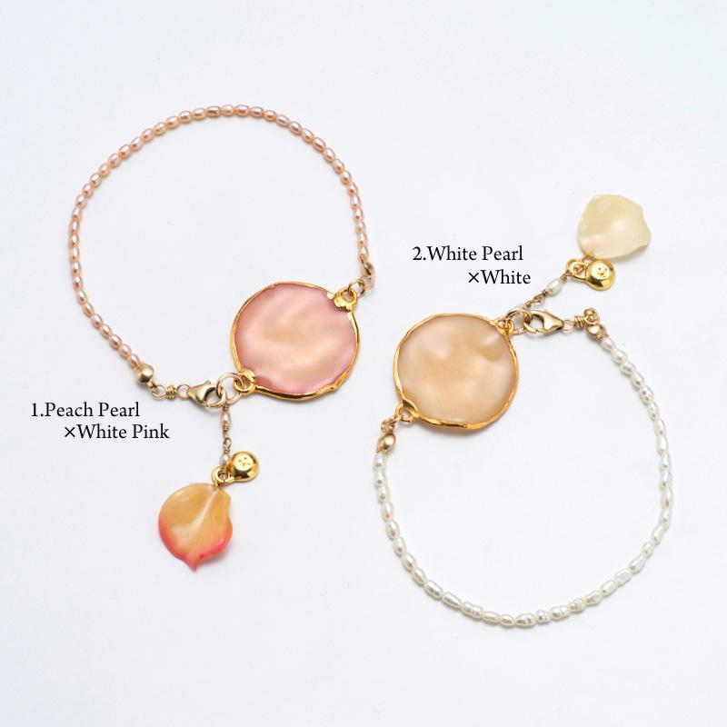 超ポイントバック祭り 期間限定 ポイント5倍!!rose petal bracelet group1 天然石 本物の花 フラワー ブレスレット