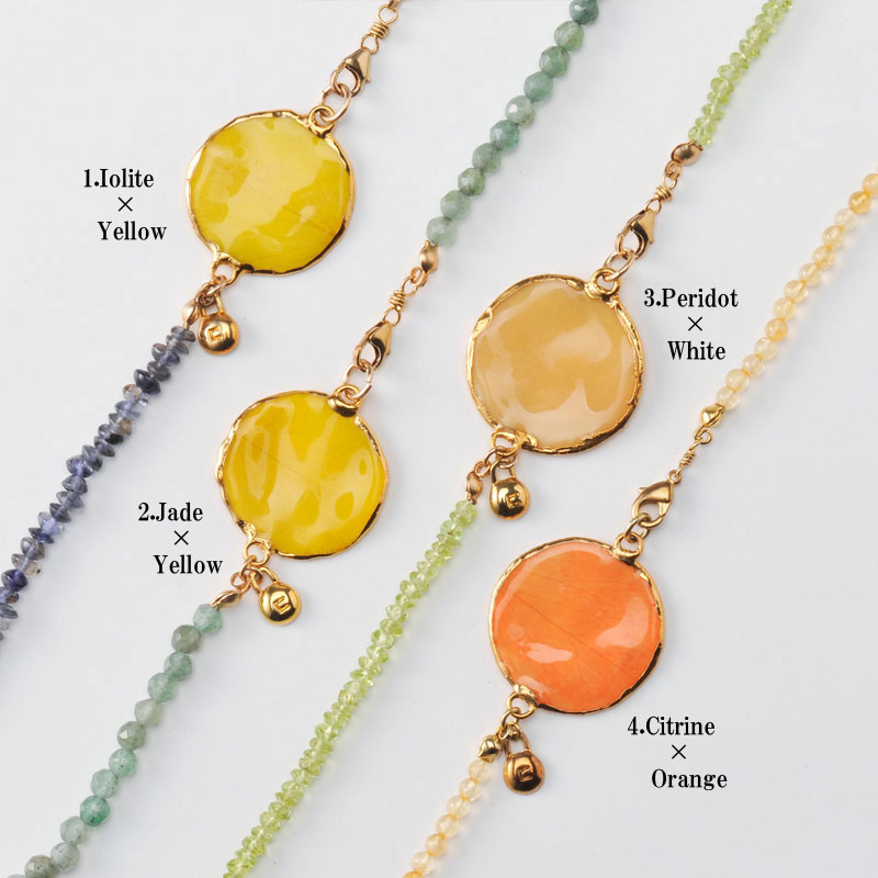 rose long necklace(group2) 天然石 ロングネックレス 本物の花 バラ