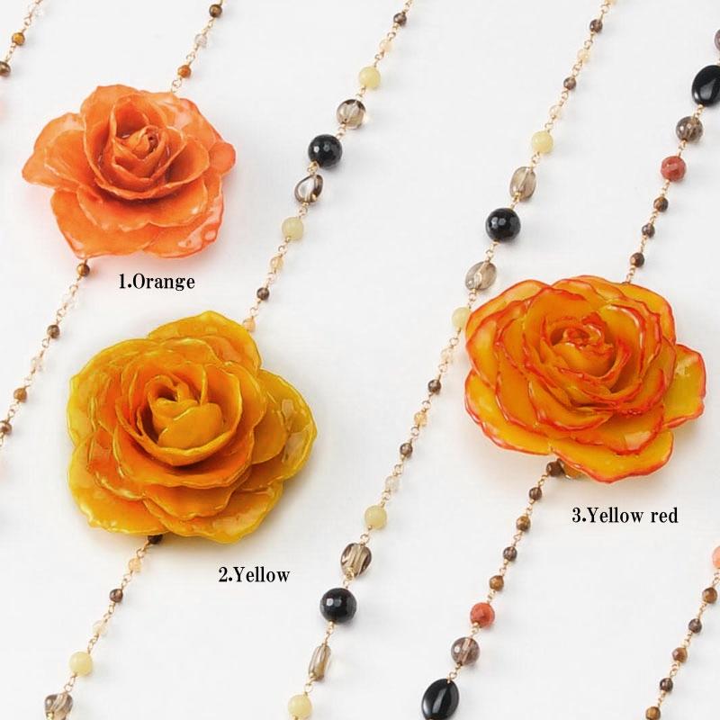 【 価格改定 お買い得商品 】blooming rose long necklace(group2) 天然石 ロングネックレス 本物の花 バラ